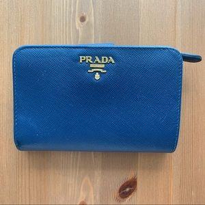 Prada Small Saffiano Leather Wallet - Blue